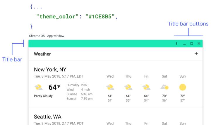 App window components on Chrome OS