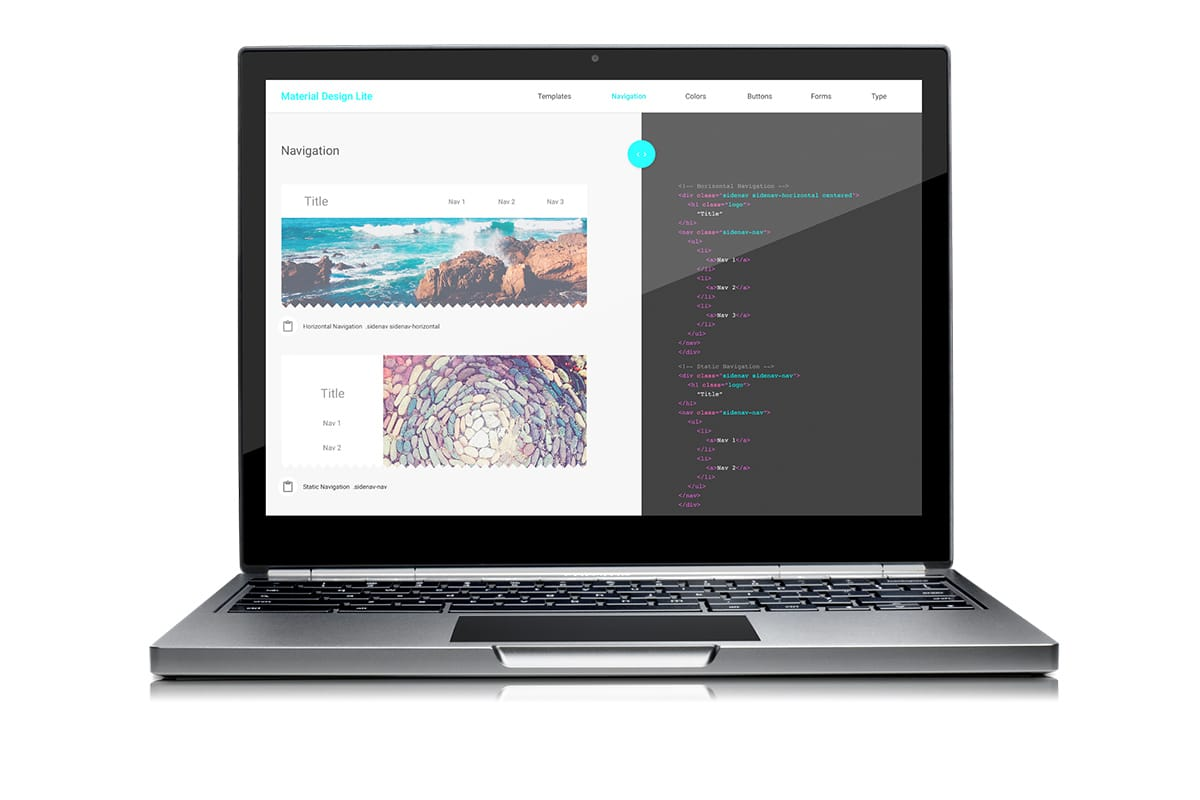 Web Starter Kit's Material Design Styleguide Mock