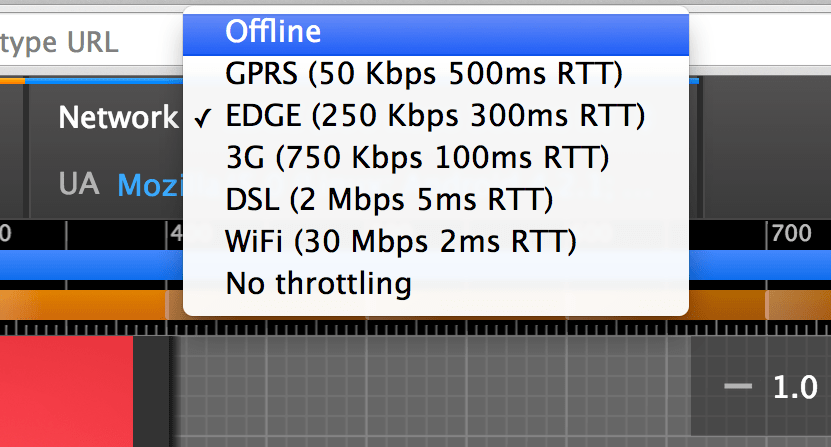 Screenshot of Network Throttling in Chrome DevTools