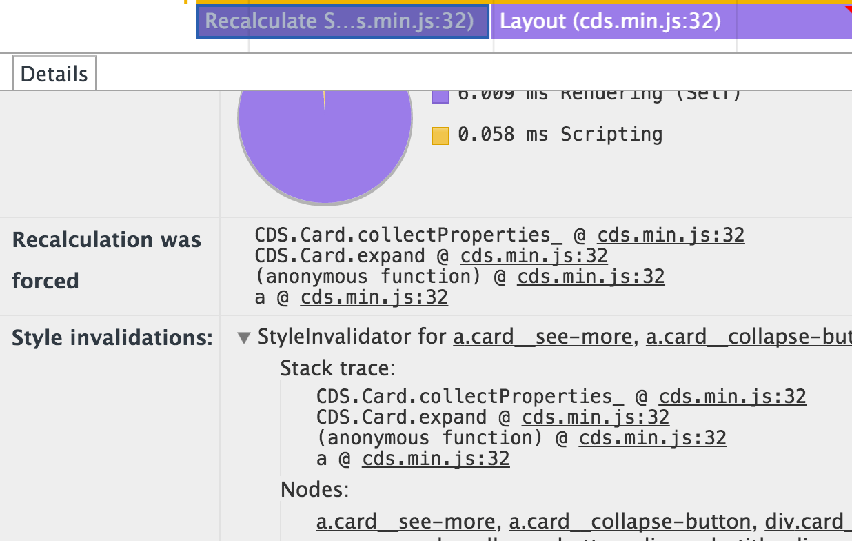 Screenshot of Invalidation Tracking in Chrome DevTools