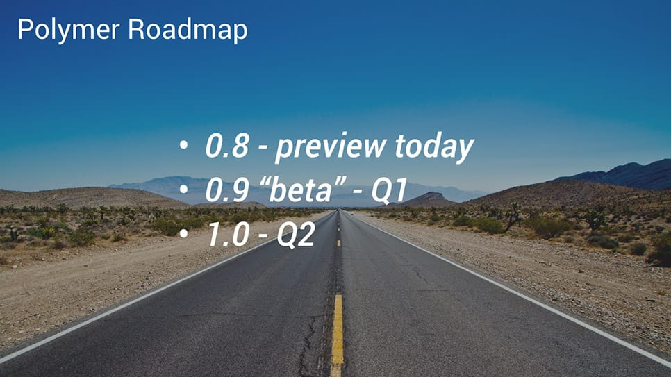 Polymer roadmap, beta in q1, 1.0 in q2