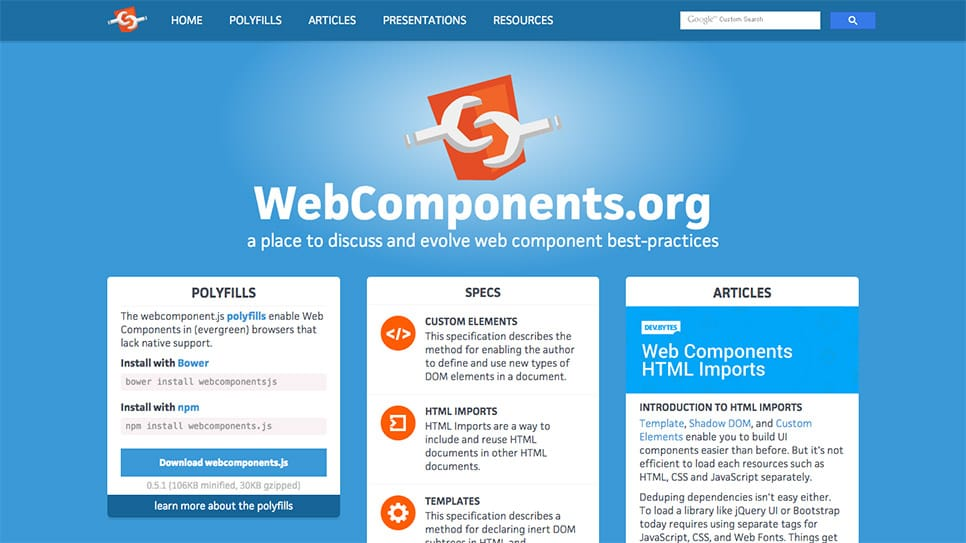 Polyfills moving to webcomponents.org