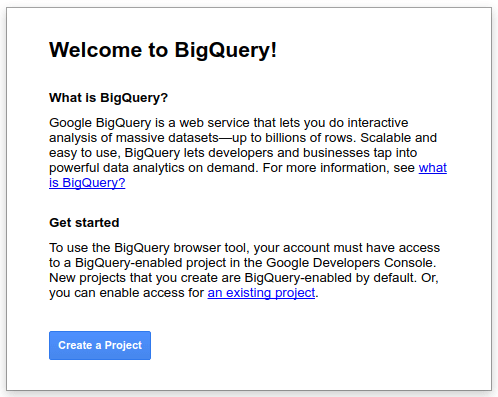 Welcome to BigQuery interstitial