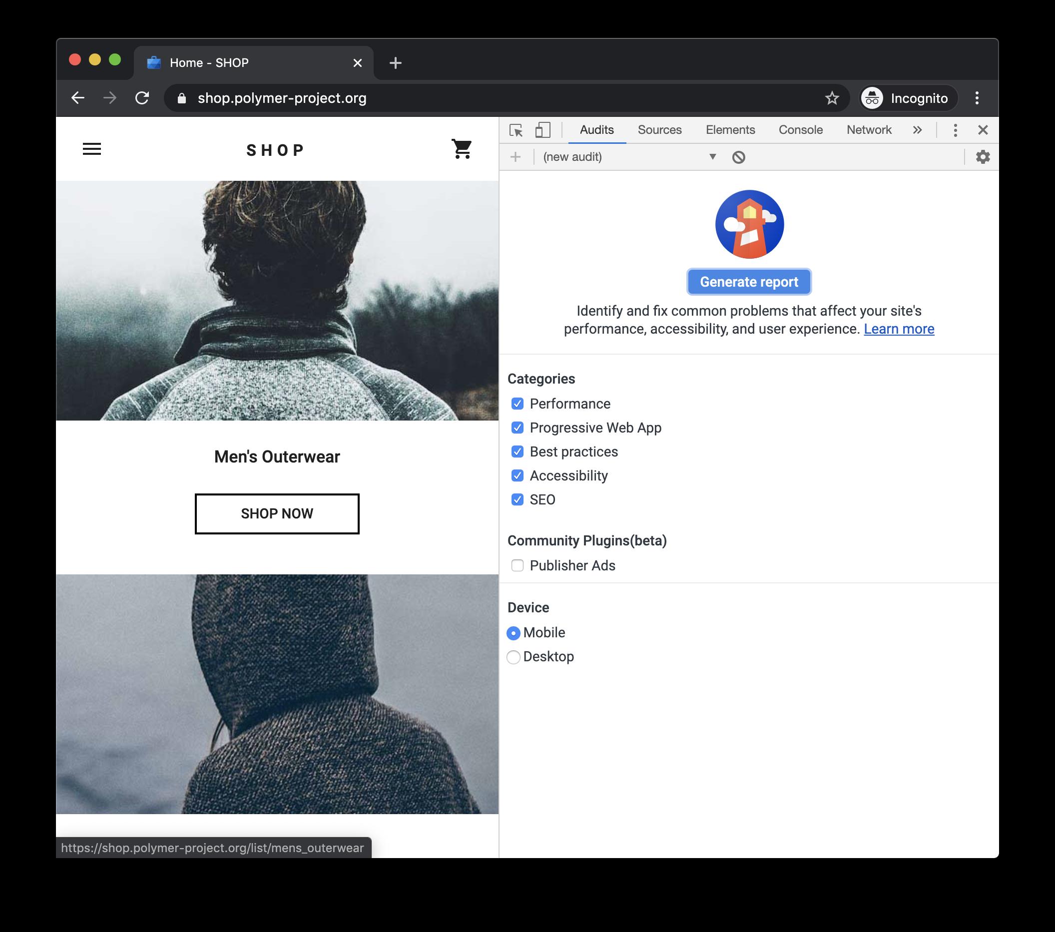 The Audits panel of Chrome DevTools