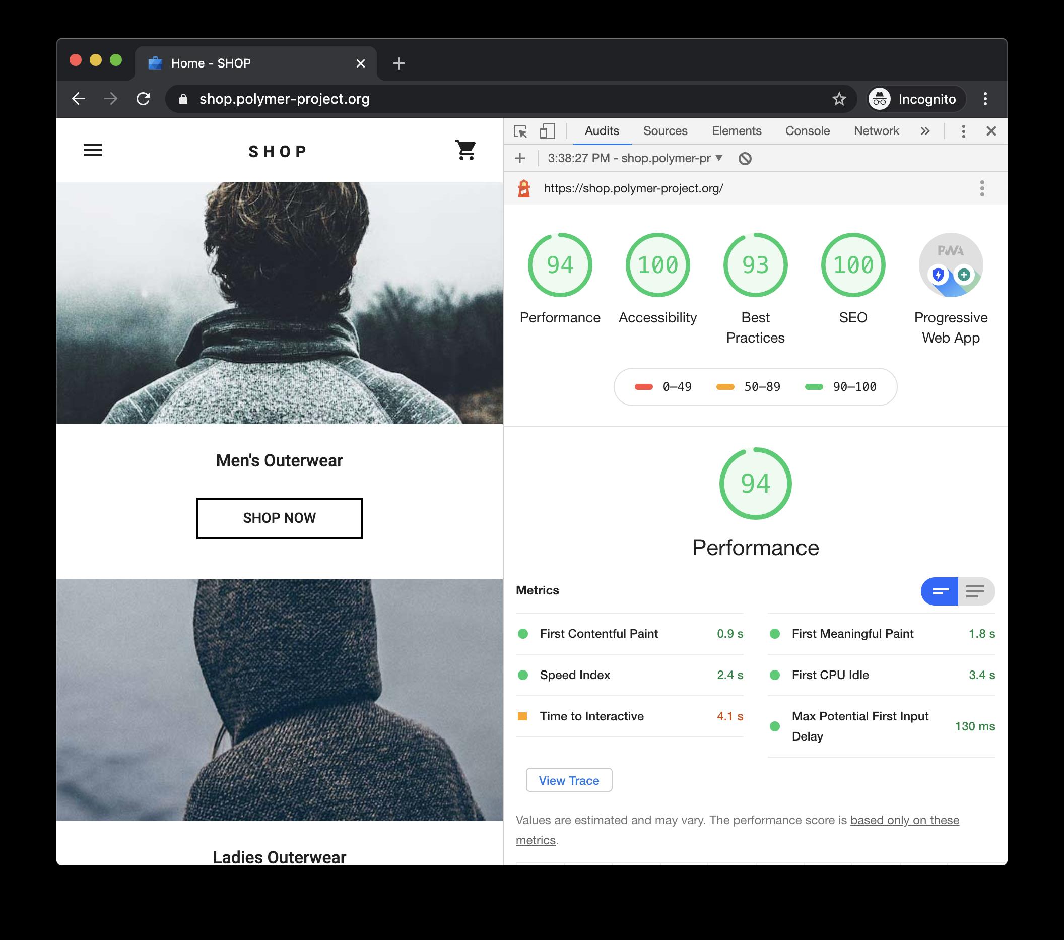 Un reporte de Lighthouse en Chrome DevTools