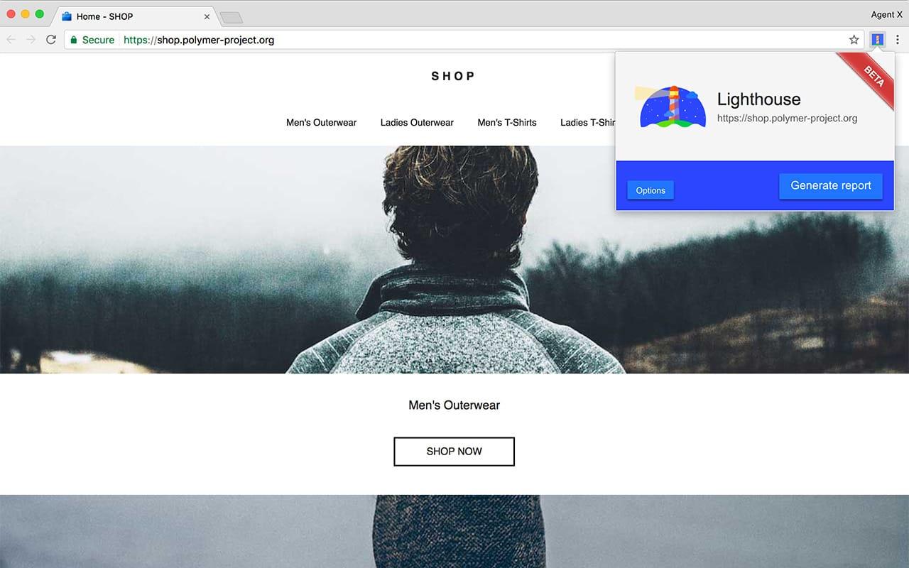 Lighthouse icon on Chrome Toolbar