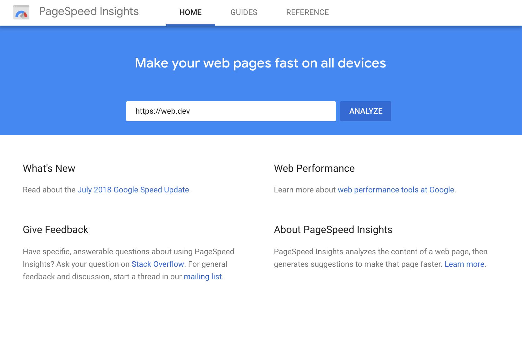 La UI de PageSpeed Insights.