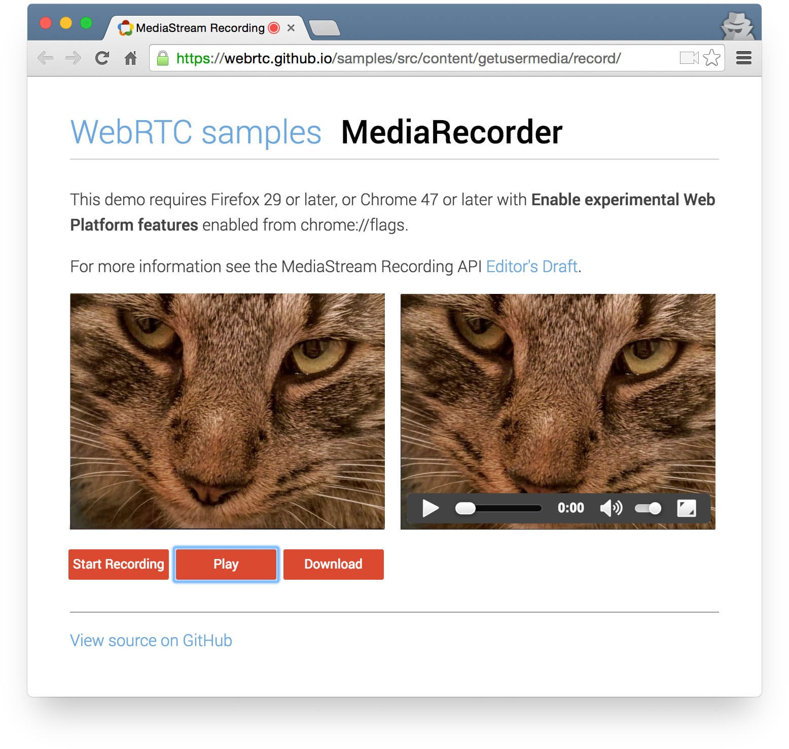 Screenshot of MediaRecorder demo on the WebRTC GitHub samples repo