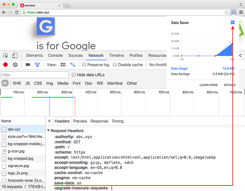 The Save-Data header revealed in Chrome's Developer Tools pictured along with the Data Saver extension.