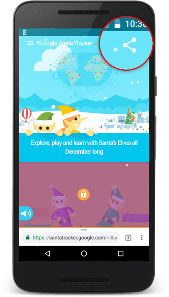 Santa Tracker share button