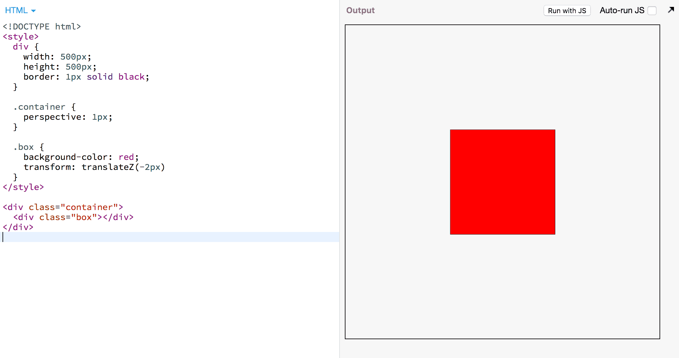 A piece of CSS code that distorts a div using CSS'     perspective attribute.