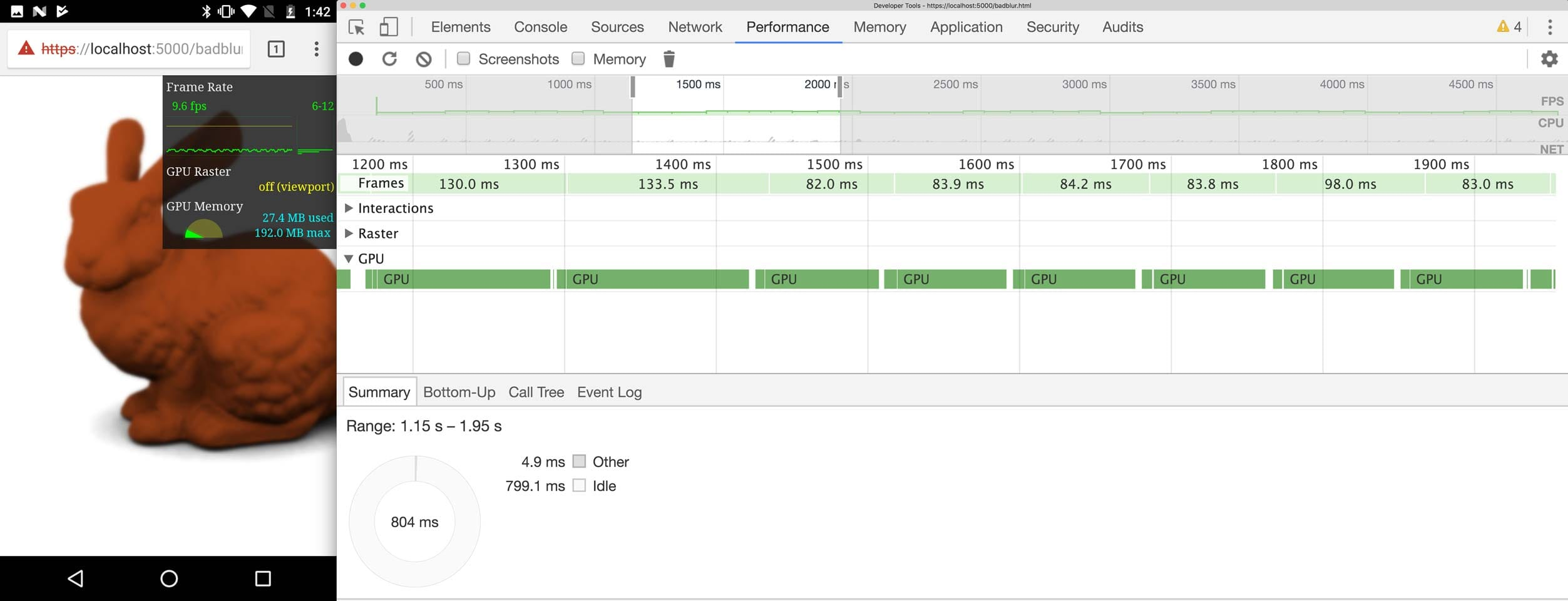 DevTools   showing a trace where the GPU has long periods of busy time.