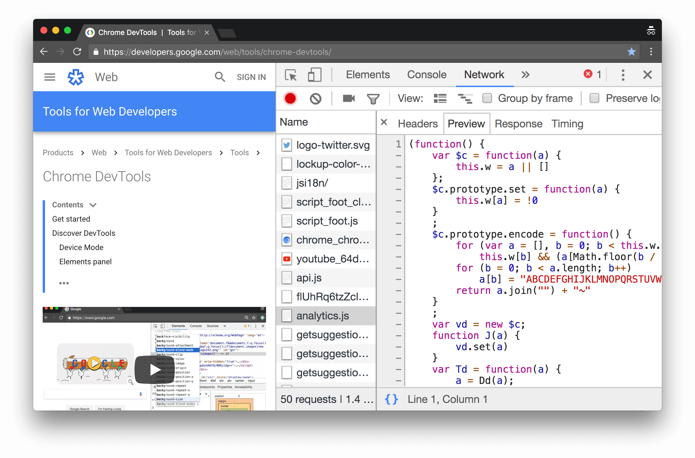 The Preview tab pretty-printing the contents of analytics.js by default.