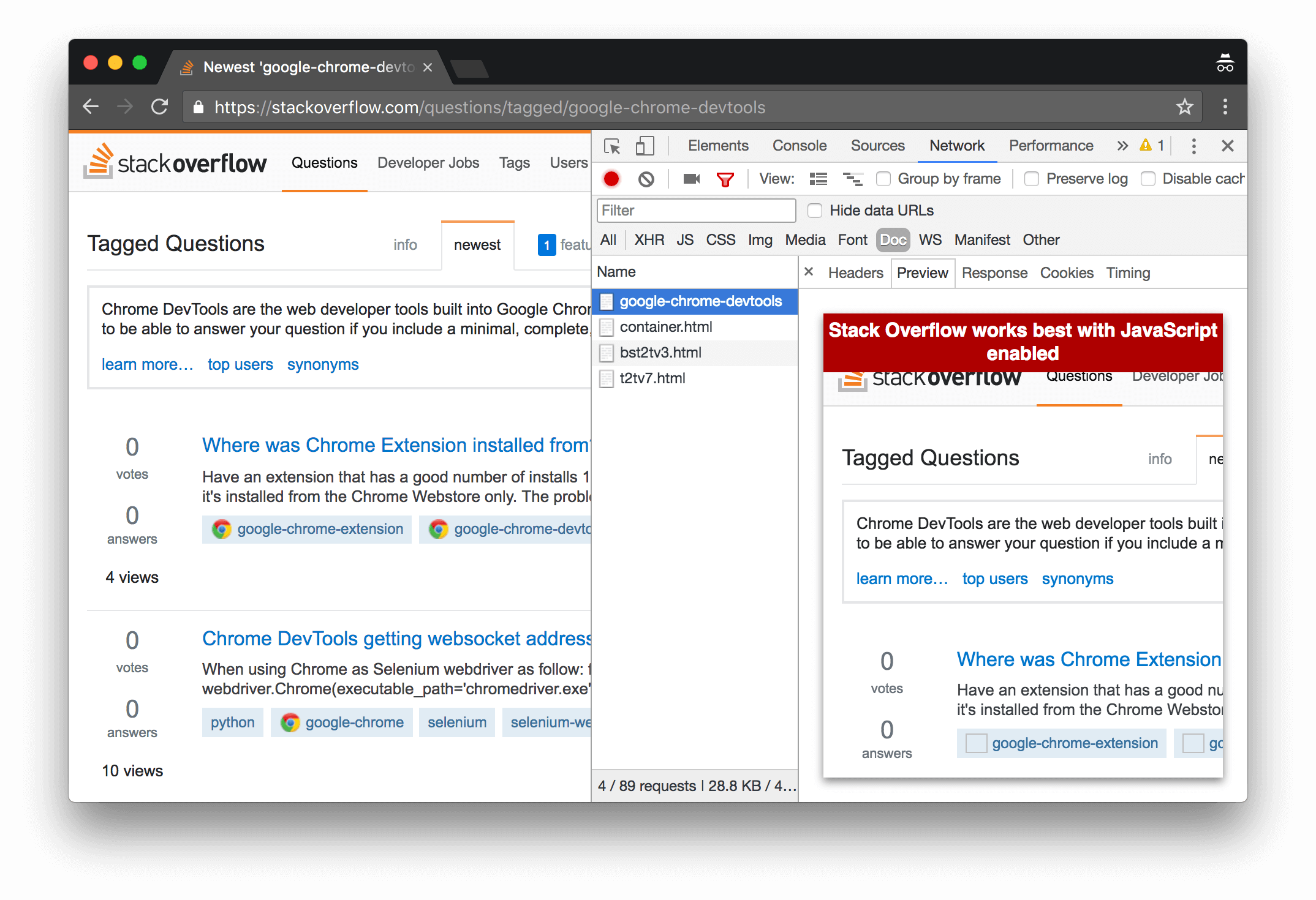 Previewing HTML in the Preview tab.