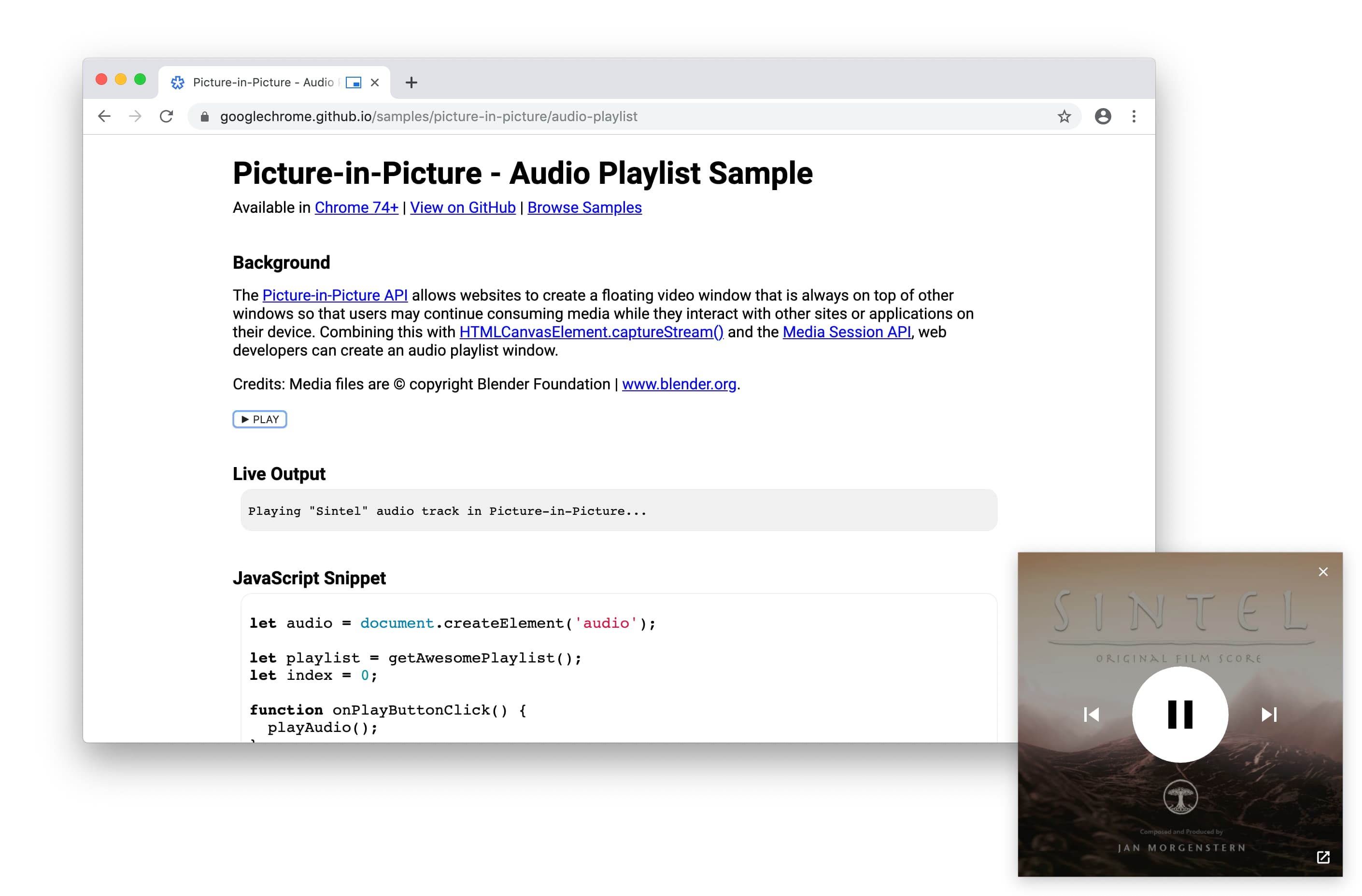 Audio playlist in a Picture-in-Picture window