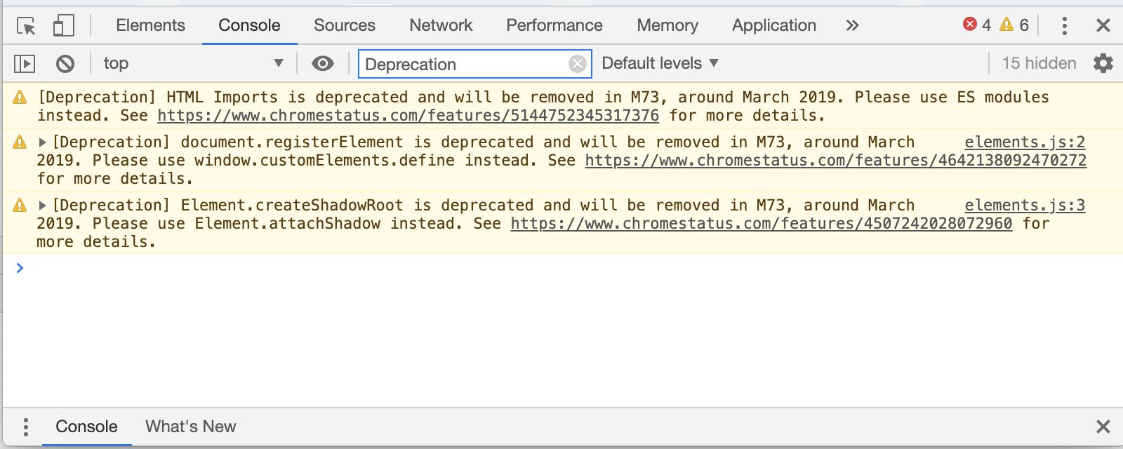 Console window showing deprecation warnings