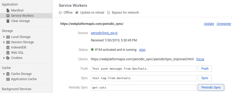 The service workers panel in DevTools