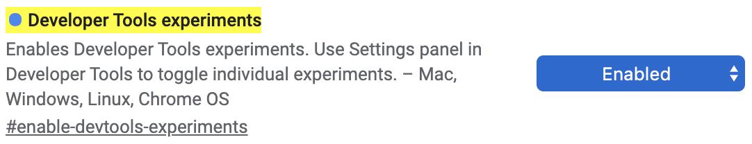 The Developer Tools Experiments flag setting