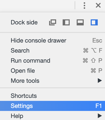 The settings panel in DevTools