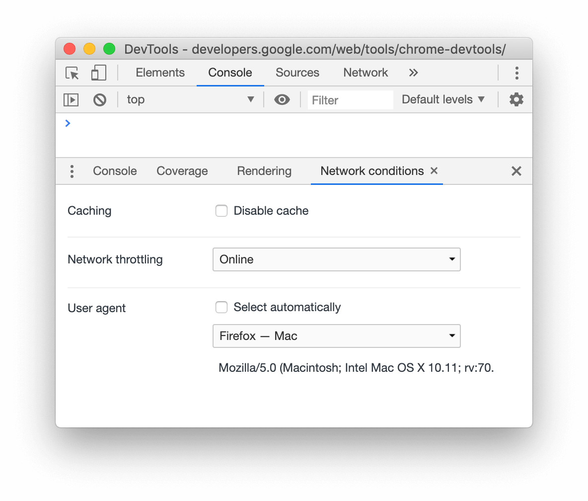 A screenshot of the User Agent menu in the Network Conditions tab.