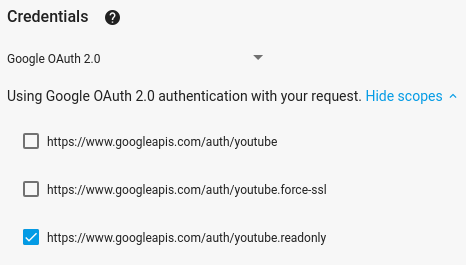 Image that shows scopes in the fullscreen APIs Explorer and the option to use 'Google OAuth 2.0' credentials selected.